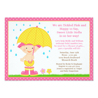 Umbrella Baby Sprinkle Shower Pink 5x7 Paper Invitation Card