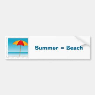 Umbrella, Beach & Ocean Stamp Bumper Sticker