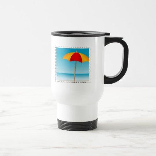 Umbrella, Beach & Ocean Stamp Travel Mug