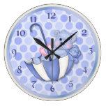Umbrella Bear Blue - Customize Wallclocks