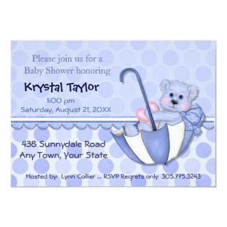 Umbrella Bear Blue - Invitation