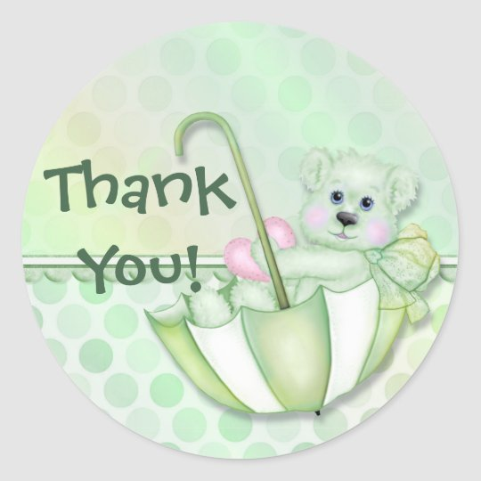 Umbrella Bear Mint Baby Thank You Classic Round Sticker