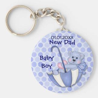 Umbrella Bear - New Dad - Boy Basic Round Button Keychain