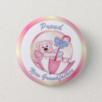 Umbrella Bear - New Grandpa - Girl Pinback Button