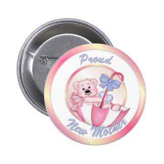 Umbrella Bear - New Mom - Girl Pinback Button