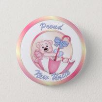 Umbrella Bear - New Uncle - Girl Button