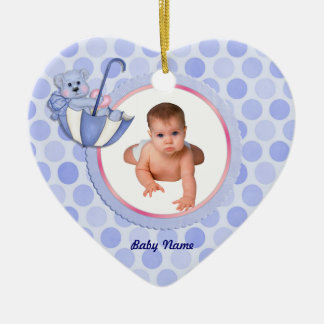 Umbrella Bear Photo Ornament - Blue