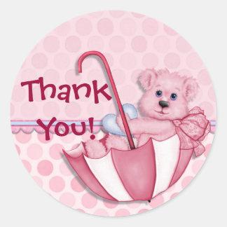 Umbrella Bear Pink Baby Thank You Sticker