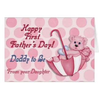 Umbrella Bear Pink - Father to Be Fathers Day Card