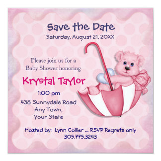 Umbrella Bear Pink - Invitation