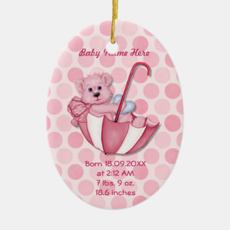 Umbrella Bear - Pink - Personalize Ceramic Ornament