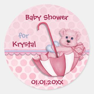 Umbrella Bear Pink Polka Dot Baby Shower Round Sticker