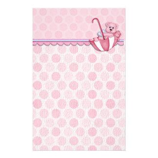 Umbrella Bear Pink Polka Dots Baby Stationery