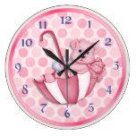 Umbrella Bear Pink Wallclock