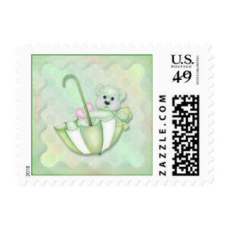 Umbrella Bear Polka Dot Baby - Mint Green Stamp