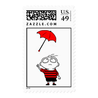 Umbrella Boy Postage Stamps