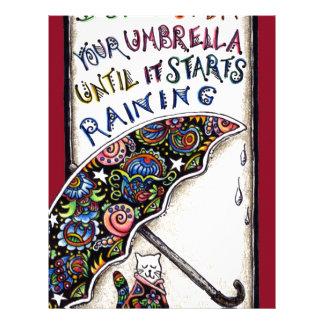 Umbrella Cat Quote Doodle Letterhead