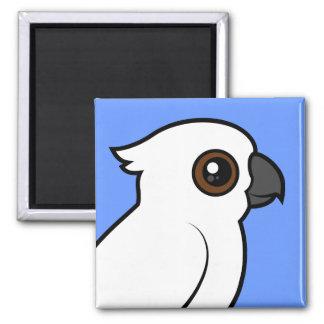 Umbrella Cockatoo (flat) 2 Inch Square Magnet
