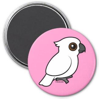 Umbrella Cockatoo (flat) 3 Inch Round Magnet