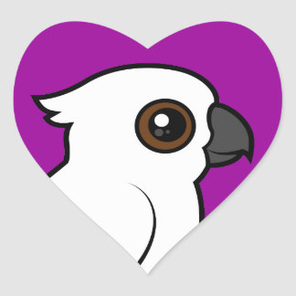 Umbrella Cockatoo (flat) Heart Sticker