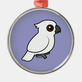 Umbrella Cockatoo (flat) Round Metal Christmas Ornament