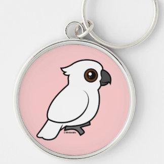 Umbrella Cockatoo (flat) Silver-Colored Round Keychain