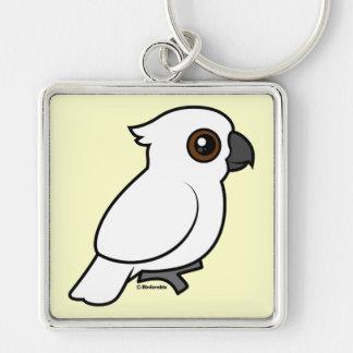 Umbrella Cockatoo (flat) Silver-Colored Square Keychain