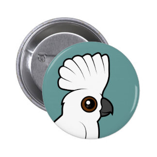 Umbrella Cockatoo (raised) Pinback Buttons