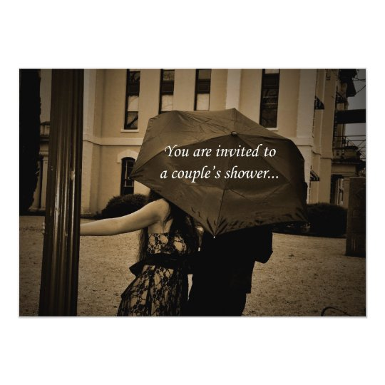 Umbrella Couple's Jack And Jill Shower Invitation