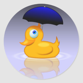 Umbrella duck classic round sticker