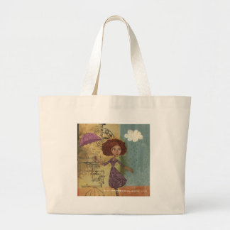 Umbrella Girl Whimsical Garden Illustration Tote Bags