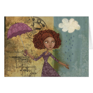 Umbrella Girl Whimsical Garden Illustration Card