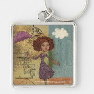 Umbrella Girl Whimsical Garden Illustration Keychains