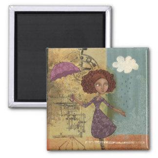 Umbrella Girl Whimsical Garden Illustration Magnets