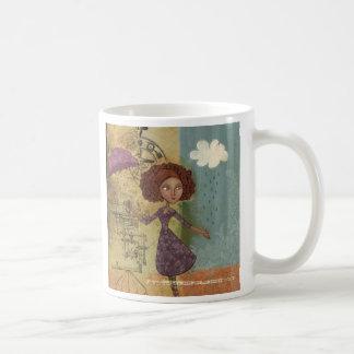 Umbrella Girl Whimsical Garden Illustration Mug