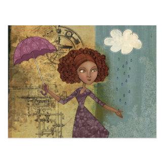Umbrella Girl Whimsical Garden Illustration Postcard