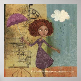 Umbrella Girl Whimsical Garden Illustration Poster