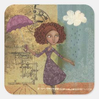 Umbrella Girl Whimsical Garden Illustration Square Sticker