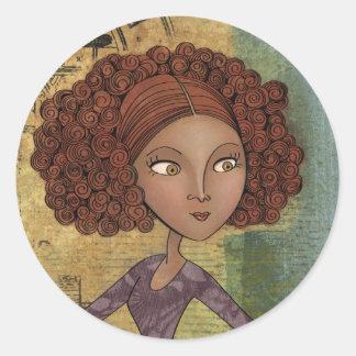Umbrella Girl Whimsical Garden Illustration Round Stickers