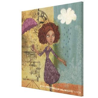 Umbrella Girl Whimsical Garden Wrapped Canvas Art Canvas Prints