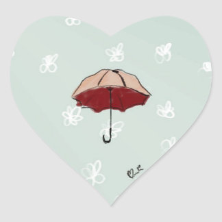 Umbrella Heart Sticker