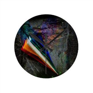 Umbrella in a Corner Round Clock