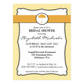 Umbrella Lemon Yellow Chevron Bridal Shower Postcard