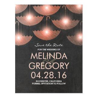 Umbrella Lights Pink Chalkboard Save the Date Postcard