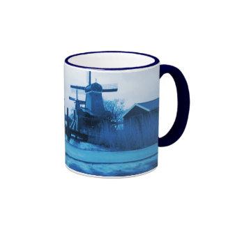 Umbrella Man Holland traditional Delft-Blue-Look Coffee Mugs