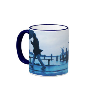 Umbrella Man Holland traditional Delft-Blue-Look Ringer Mug