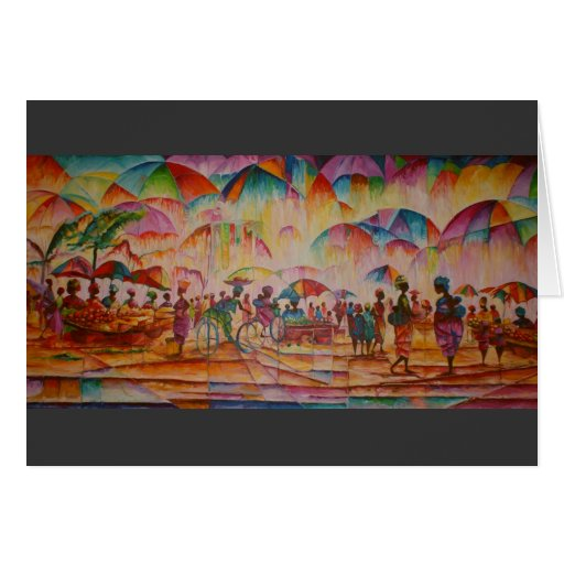 Umbrella Market - Greeting Card