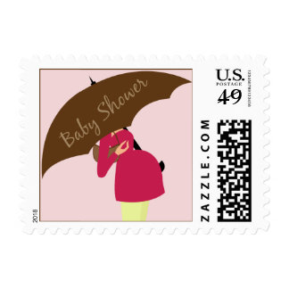 Umbrella Mommy Baby Shower Baby Pink Postage