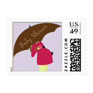 Umbrella Mommy Baby Shower Lilac Postage