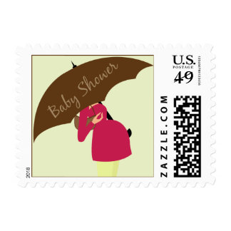 Umbrella Mommy Baby Shower Lime Postage